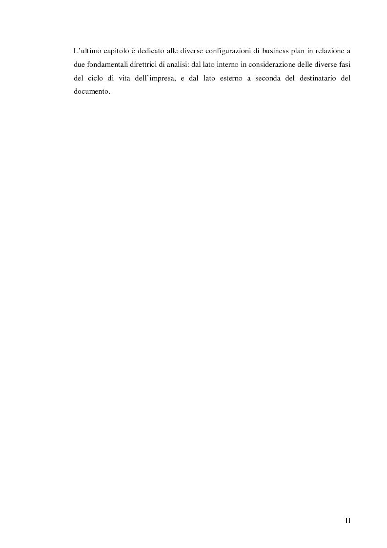 Anteprima della tesi: Il business plan. Finalità, struttura e ambiti applicativi., Pagina 3