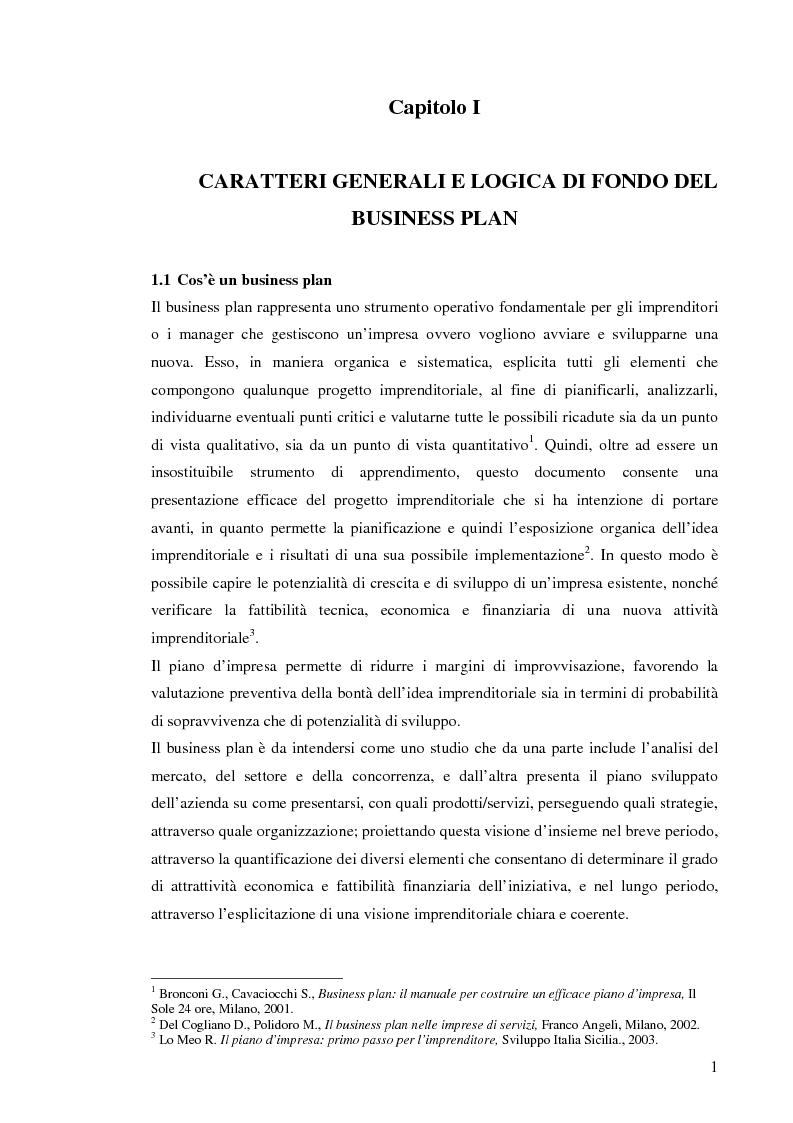 Anteprima della tesi: Il business plan. Finalità, struttura e ambiti applicativi., Pagina 4