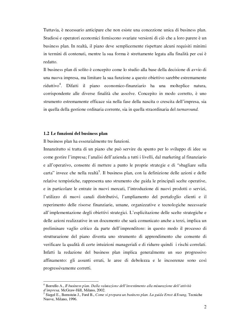 Anteprima della tesi: Il business plan. Finalità, struttura e ambiti applicativi., Pagina 5