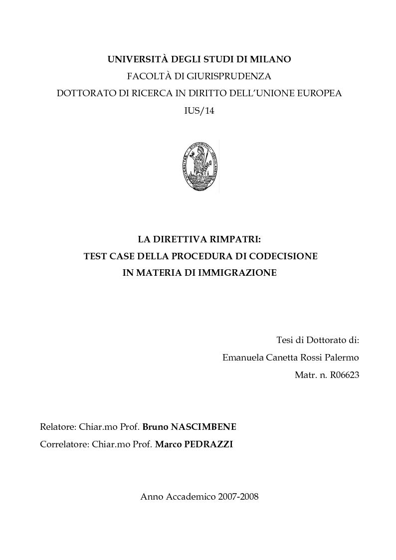 Anteprima della tesi: La Direttiva Rimpatri: Test case della procedura di codecisione in materia di immigrazione, Pagina 1