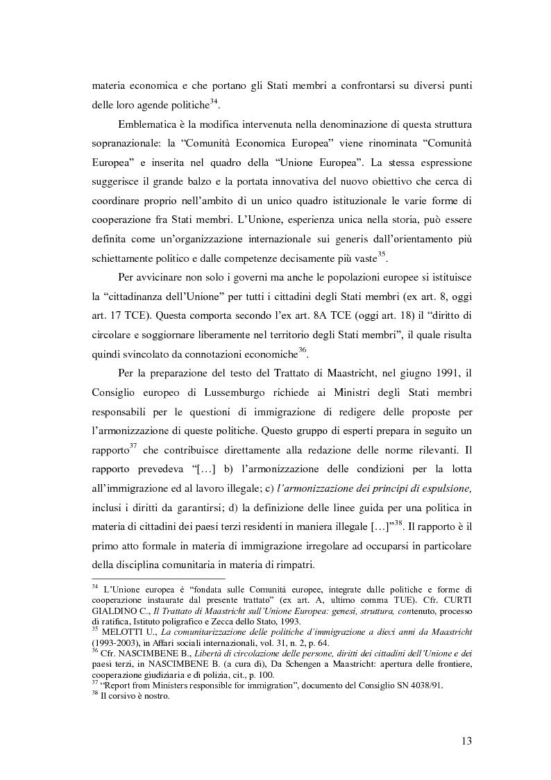 Anteprima della tesi: La Direttiva Rimpatri: Test case della procedura di codecisione in materia di immigrazione, Pagina 14