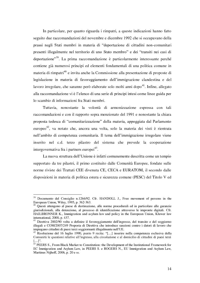 Anteprima della tesi: La Direttiva Rimpatri: Test case della procedura di codecisione in materia di immigrazione, Pagina 15