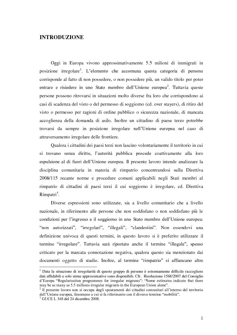 Anteprima della tesi: La Direttiva Rimpatri: Test case della procedura di codecisione in materia di immigrazione, Pagina 2