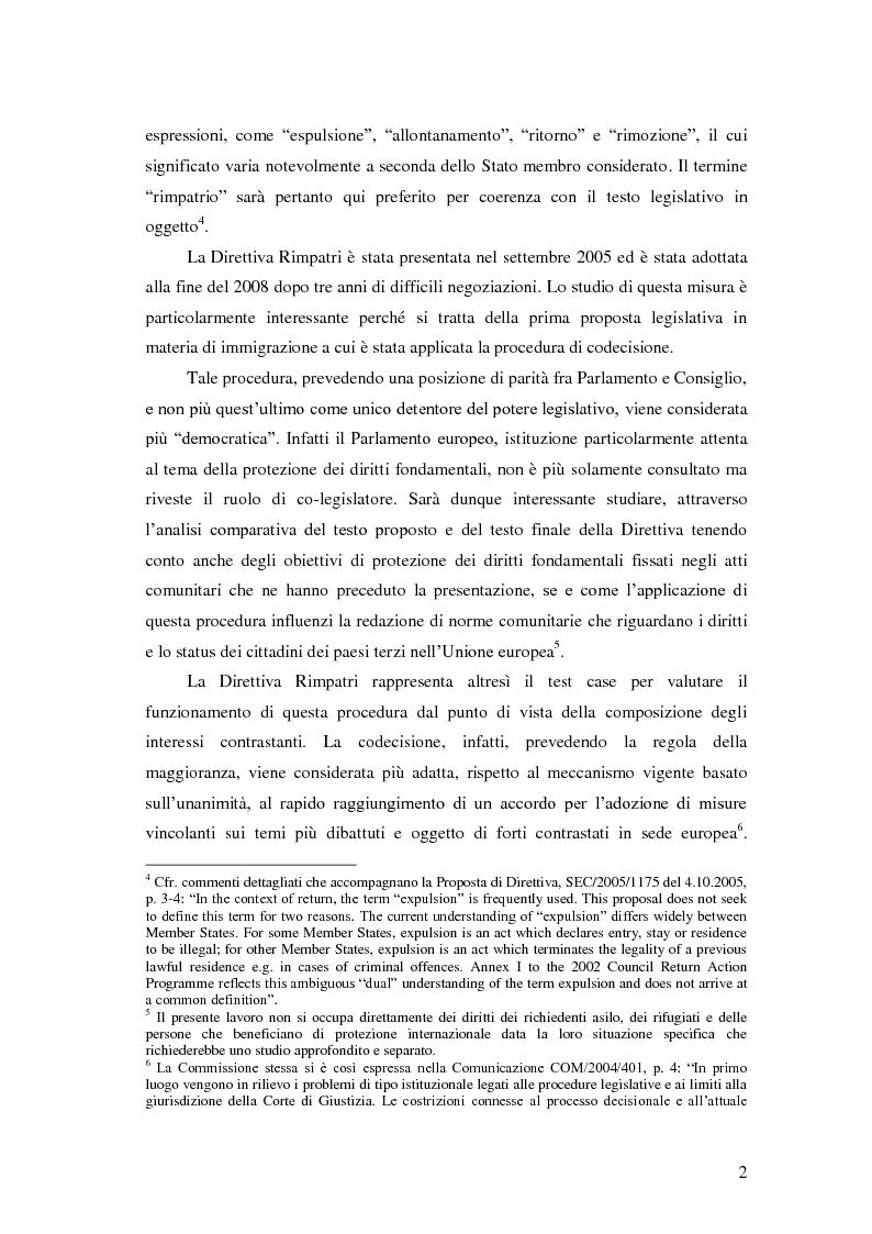 Anteprima della tesi: La Direttiva Rimpatri: Test case della procedura di codecisione in materia di immigrazione, Pagina 3