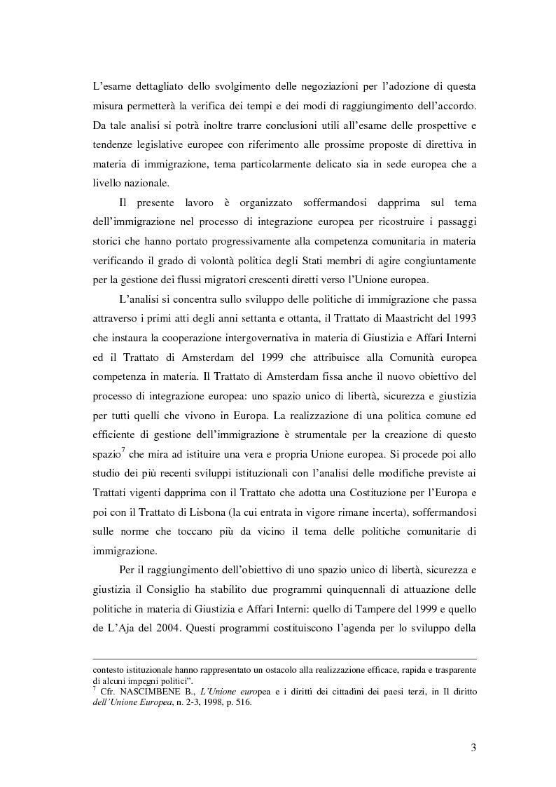 Anteprima della tesi: La Direttiva Rimpatri: Test case della procedura di codecisione in materia di immigrazione, Pagina 4