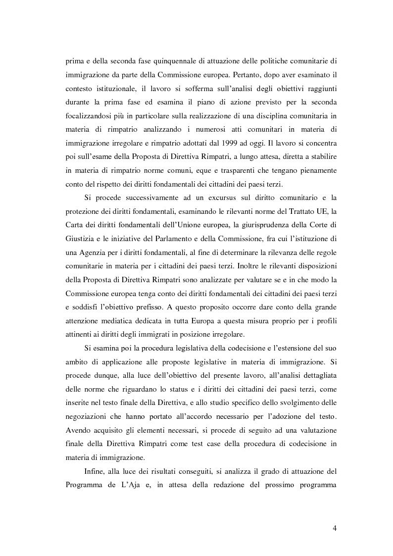 Anteprima della tesi: La Direttiva Rimpatri: Test case della procedura di codecisione in materia di immigrazione, Pagina 5