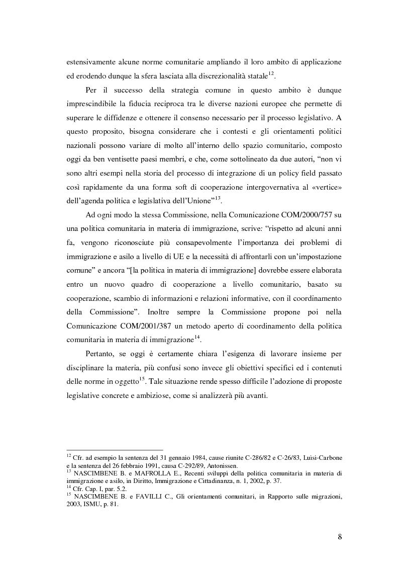 Anteprima della tesi: La Direttiva Rimpatri: Test case della procedura di codecisione in materia di immigrazione, Pagina 9