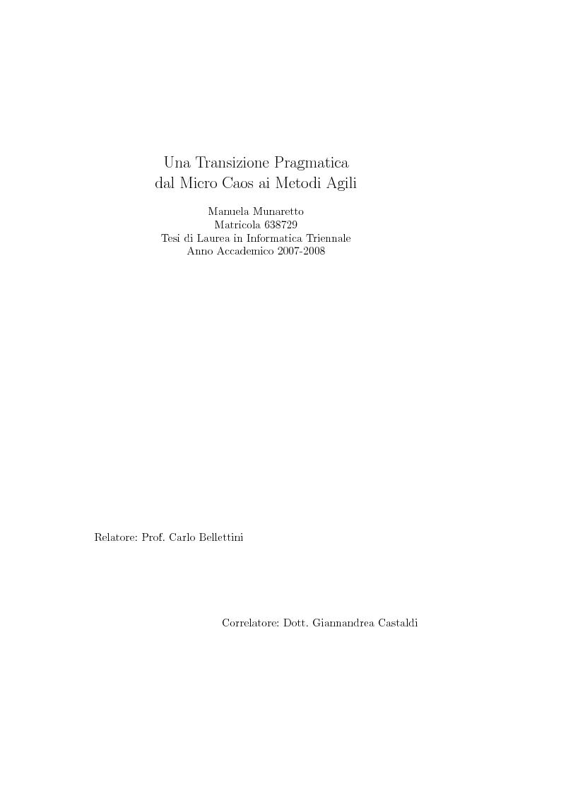Anteprima della tesi: Una transizione pragmatica dal micro caos ai metodi agili, Pagina 1