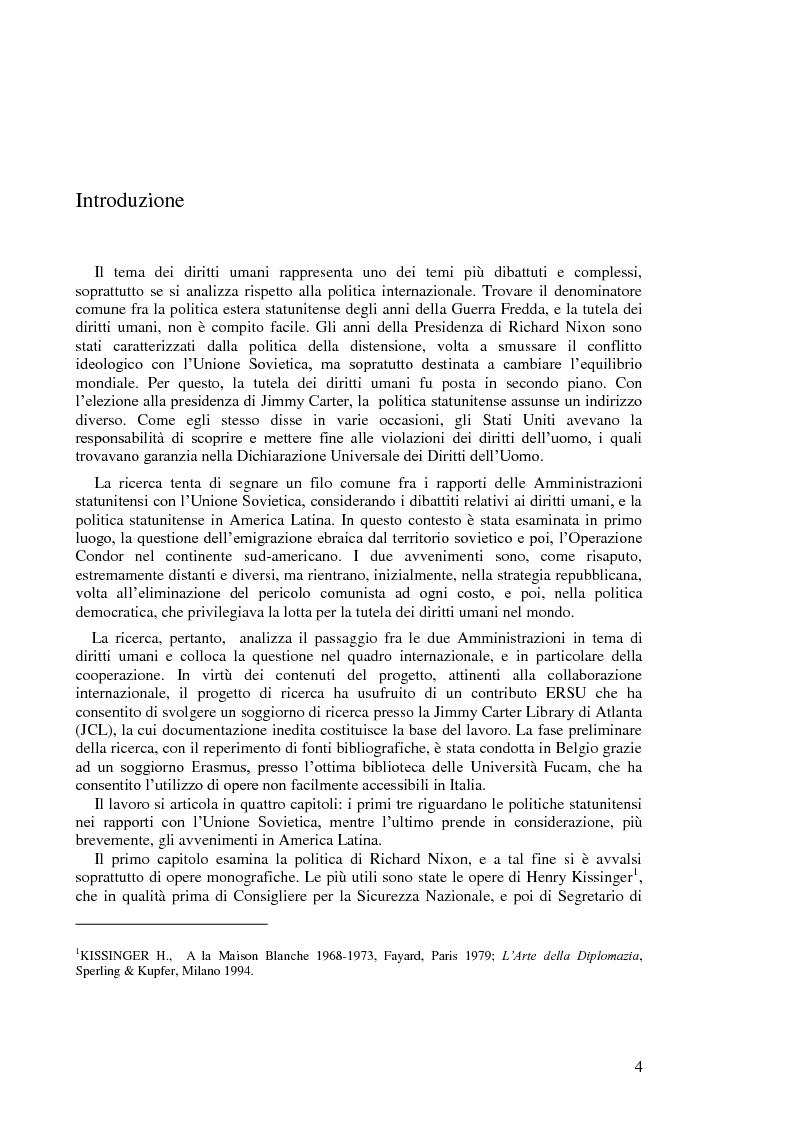 Anteprima della tesi: Politica estera degli Stati Uniti in tema di diritti umani da Nixon a Carter, Pagina 2