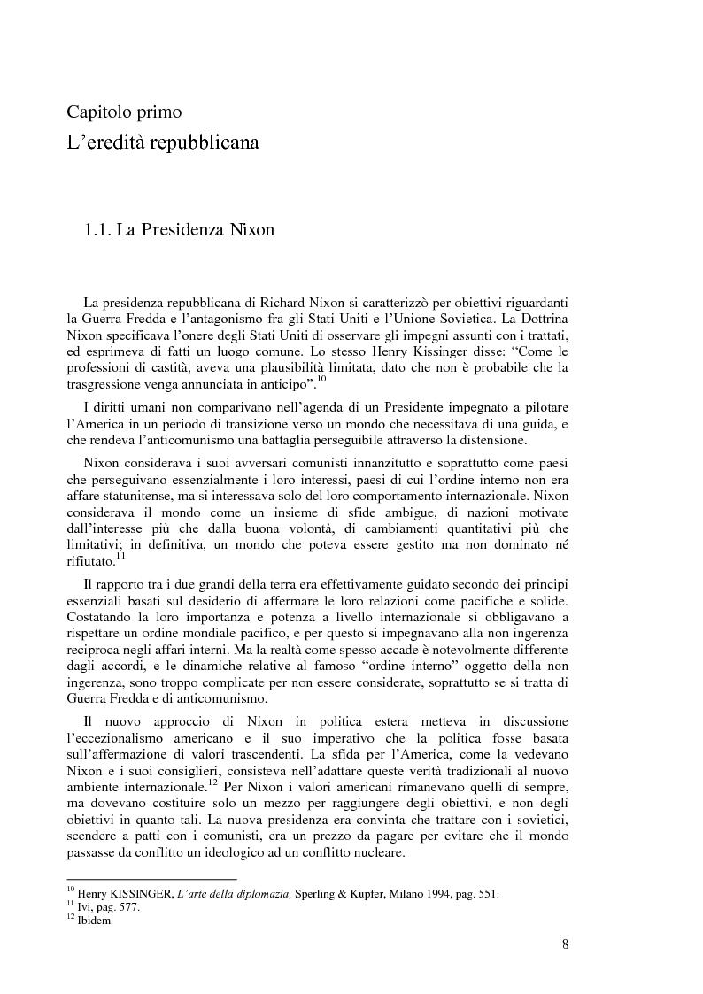 Anteprima della tesi: Politica estera degli Stati Uniti in tema di diritti umani da Nixon a Carter, Pagina 6