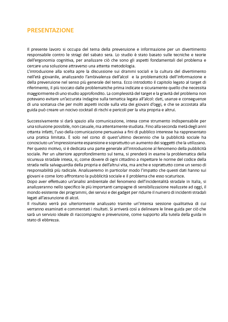 Anteprima della tesi: Aspetti metodologici e tecniche di analisi circa le potenzialità dei servizi di supporto alla tutela della guida in stato di ebbrezza., Pagina 2