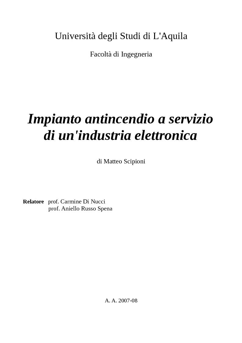 Anteprima della tesi: Impianto antincendio a servizio di un'industria elettronica, Pagina 1