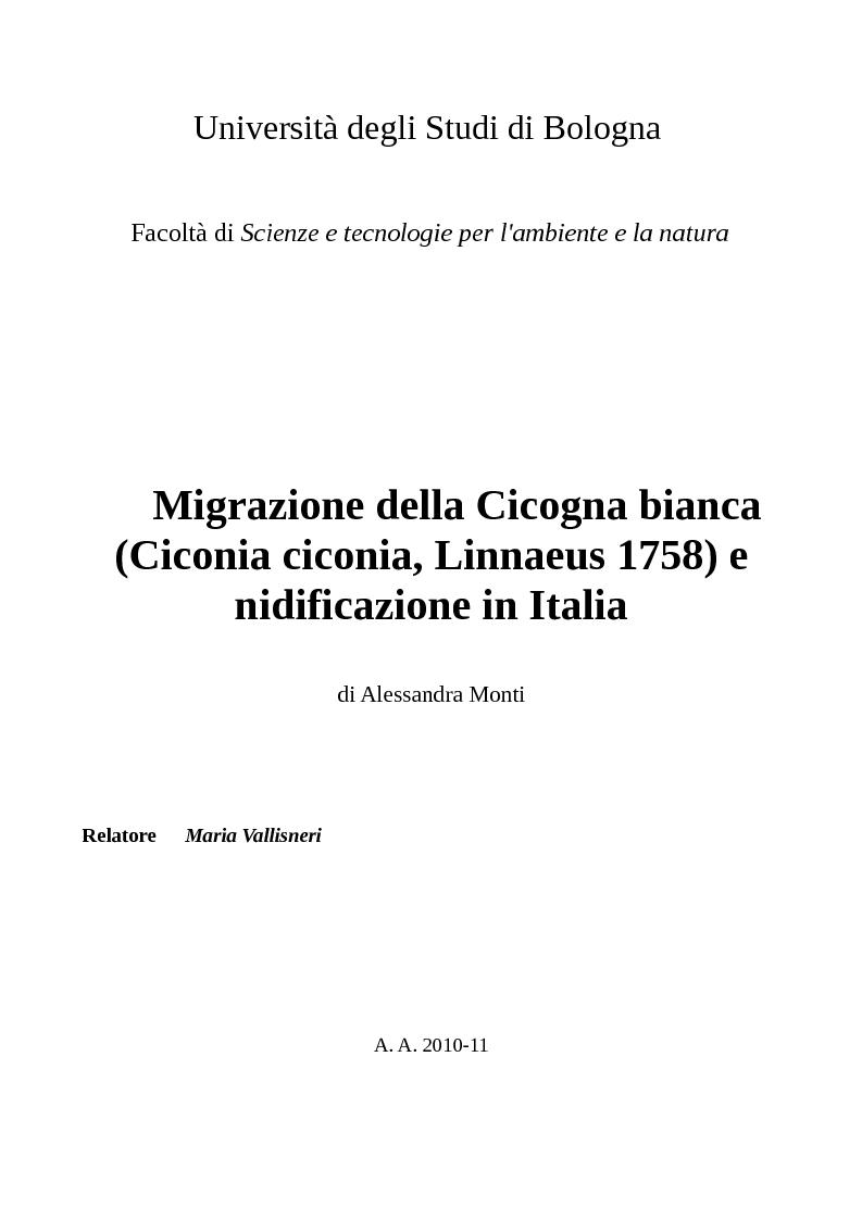 Anteprima della tesi: Migrazione della Cicogna bianca (Ciconia ciconia, Linnaeus 1758) e nidificazione in Italia, Pagina 1