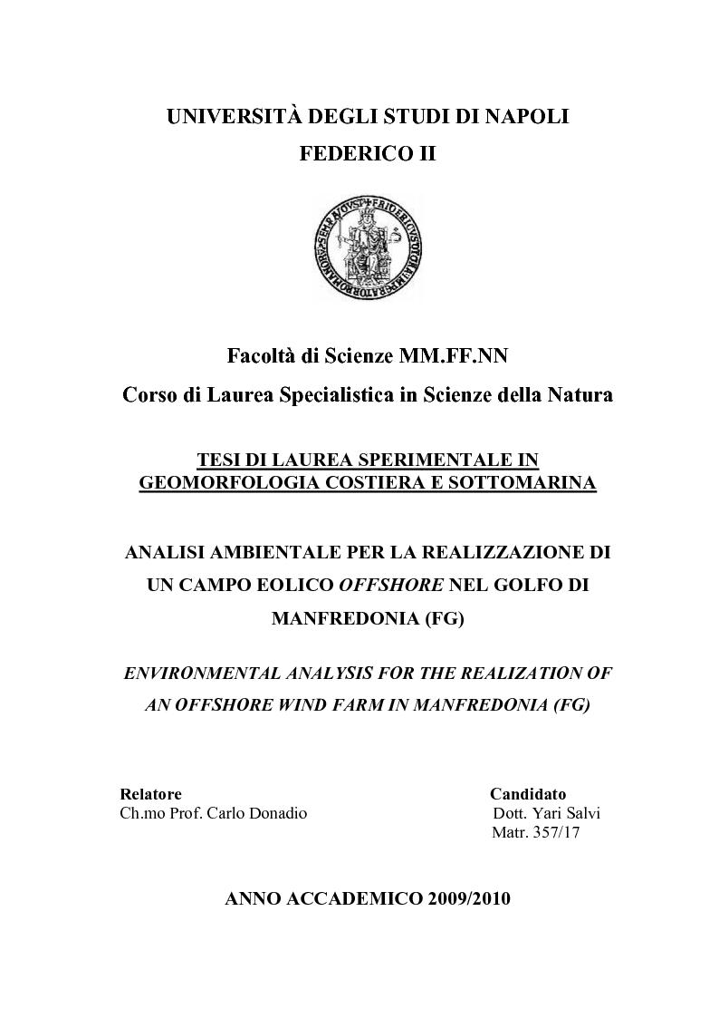Anteprima della tesi: Analisi ambientale per la realizzazione di un campo eolico offshore nel Golfo di Manfredonia (FG), Pagina 1