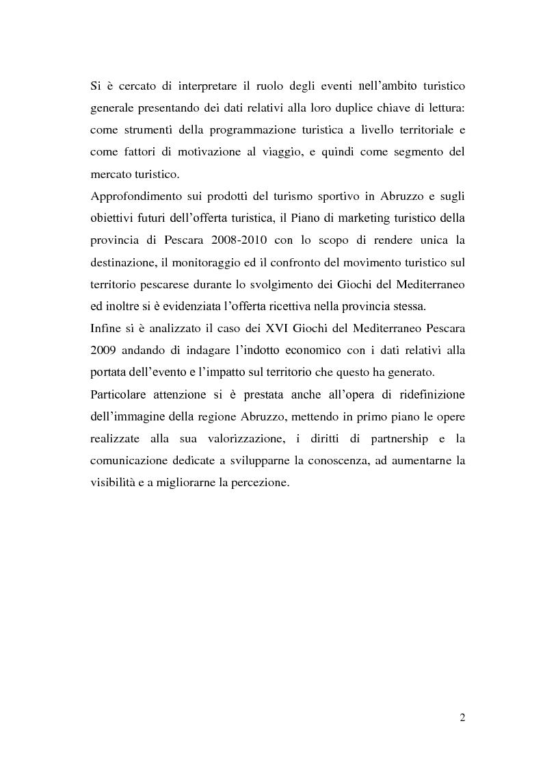 Anteprima della tesi: Marketing degli eventi e sviluppo territoriale: il caso ''Giochi del Mediterraneo Pescara 2009'', Pagina 3