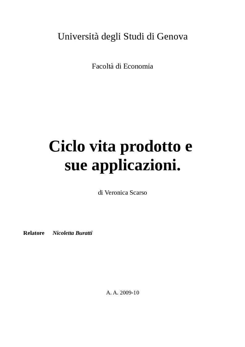 Anteprima della tesi: Ciclo vita prodotto e sue applicazioni., Pagina 1