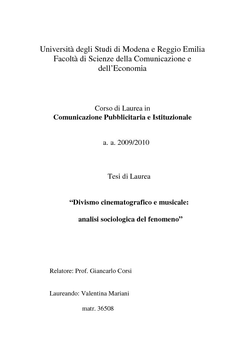 Anteprima della tesi: Divismo cinematografico e musicale: analisi sociologica del fenomeno, Pagina 1