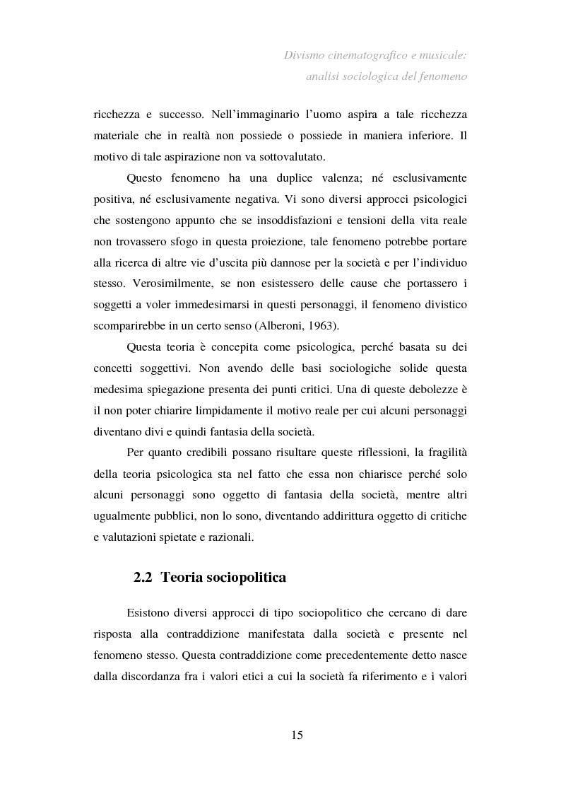 Anteprima della tesi: Divismo cinematografico e musicale: analisi sociologica del fenomeno, Pagina 12