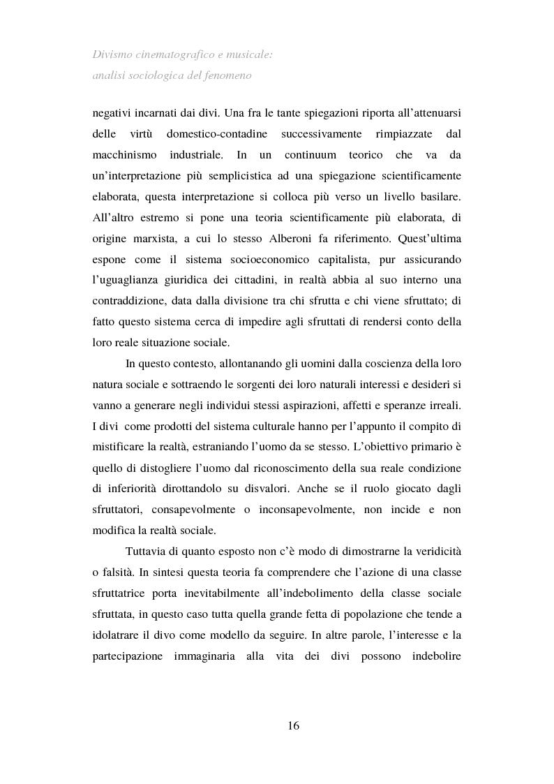 Anteprima della tesi: Divismo cinematografico e musicale: analisi sociologica del fenomeno, Pagina 13