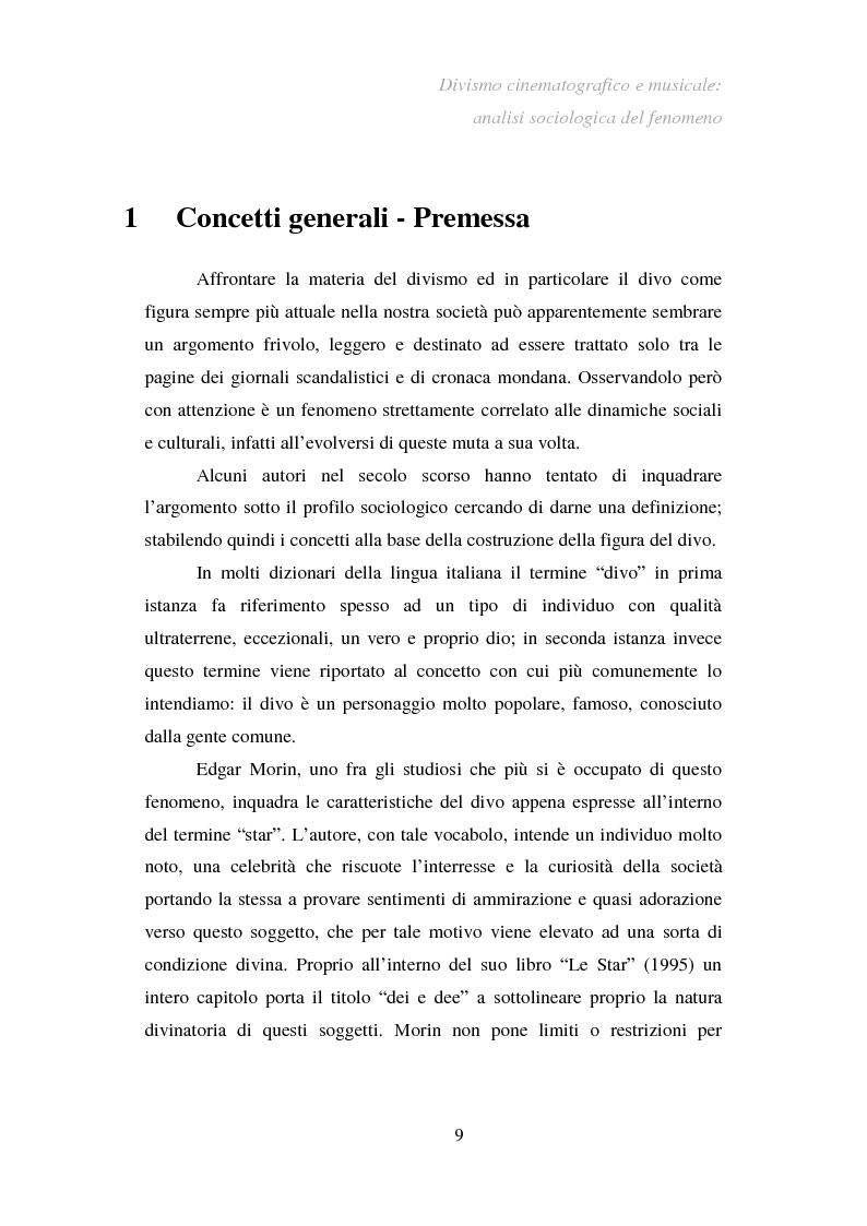 Anteprima della tesi: Divismo cinematografico e musicale: analisi sociologica del fenomeno, Pagina 6