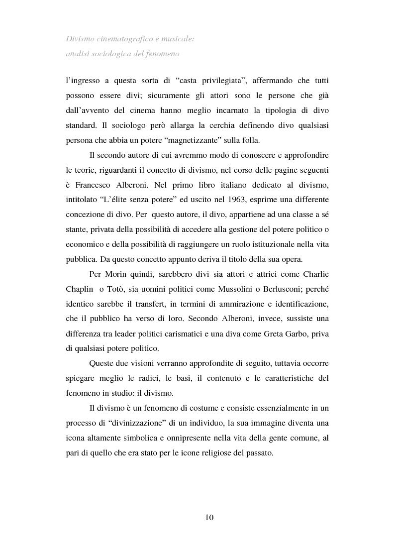 Anteprima della tesi: Divismo cinematografico e musicale: analisi sociologica del fenomeno, Pagina 7