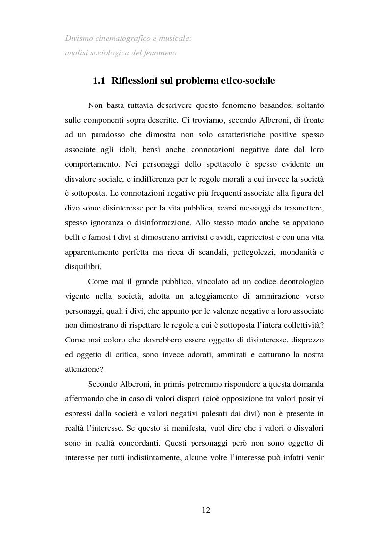 Anteprima della tesi: Divismo cinematografico e musicale: analisi sociologica del fenomeno, Pagina 9