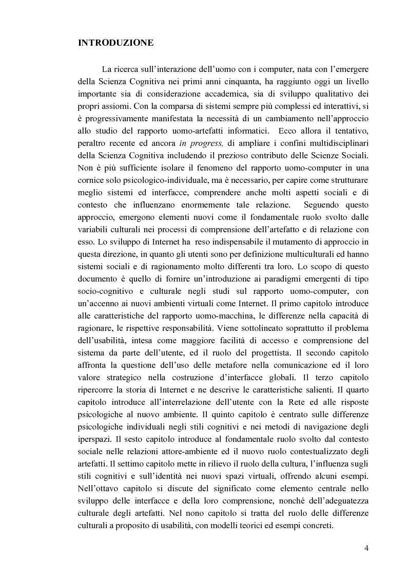 Anteprima della tesi: Aspetti cognitivi e culturali dell'interazione uomo-Internet, Pagina 1