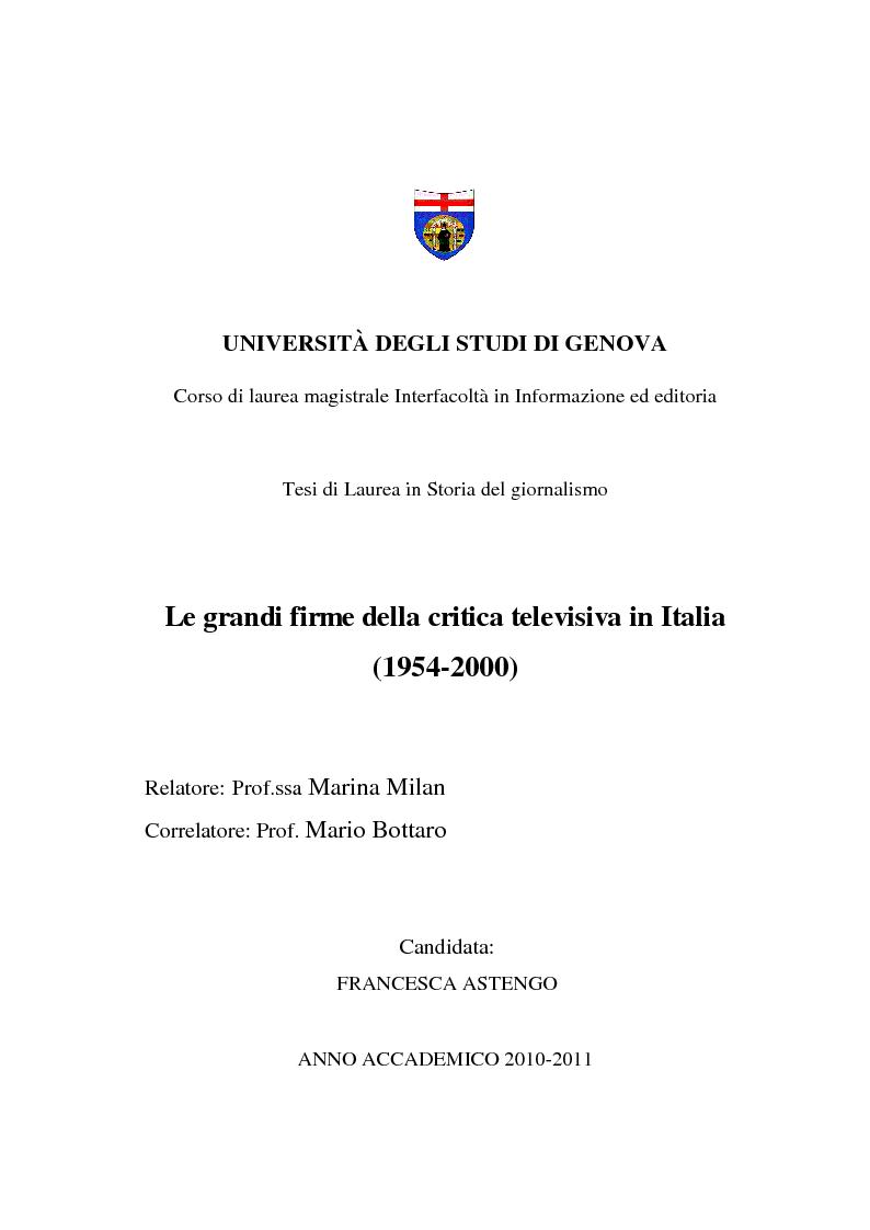 Anteprima della tesi: Le grandi firme della critica televisiva in Italia 1954-2000, Pagina 1