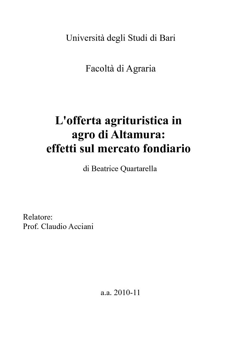 Anteprima della tesi: L'offerta agrituristica in agro di Altamura: effetti sul mercato fondiario, Pagina 1