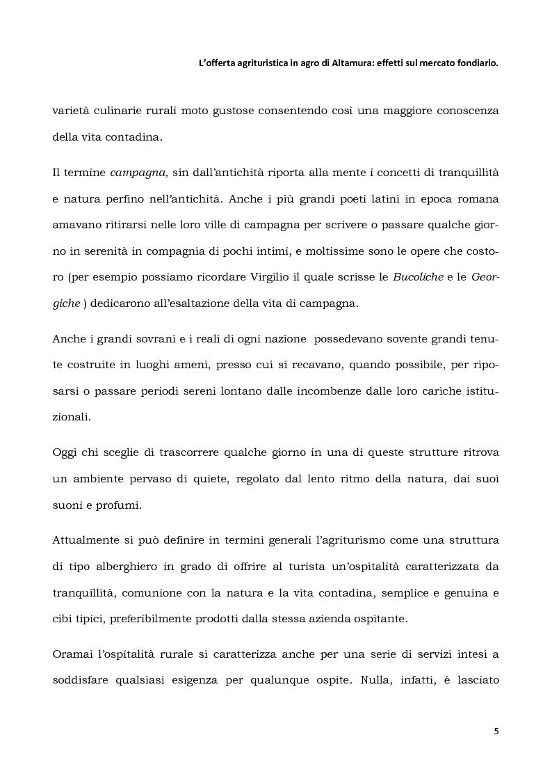 Anteprima della tesi: L'offerta agrituristica in agro di Altamura: effetti sul mercato fondiario, Pagina 3