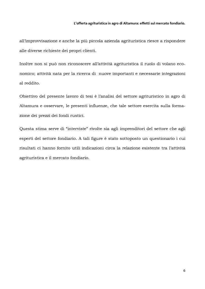 Anteprima della tesi: L'offerta agrituristica in agro di Altamura: effetti sul mercato fondiario, Pagina 4