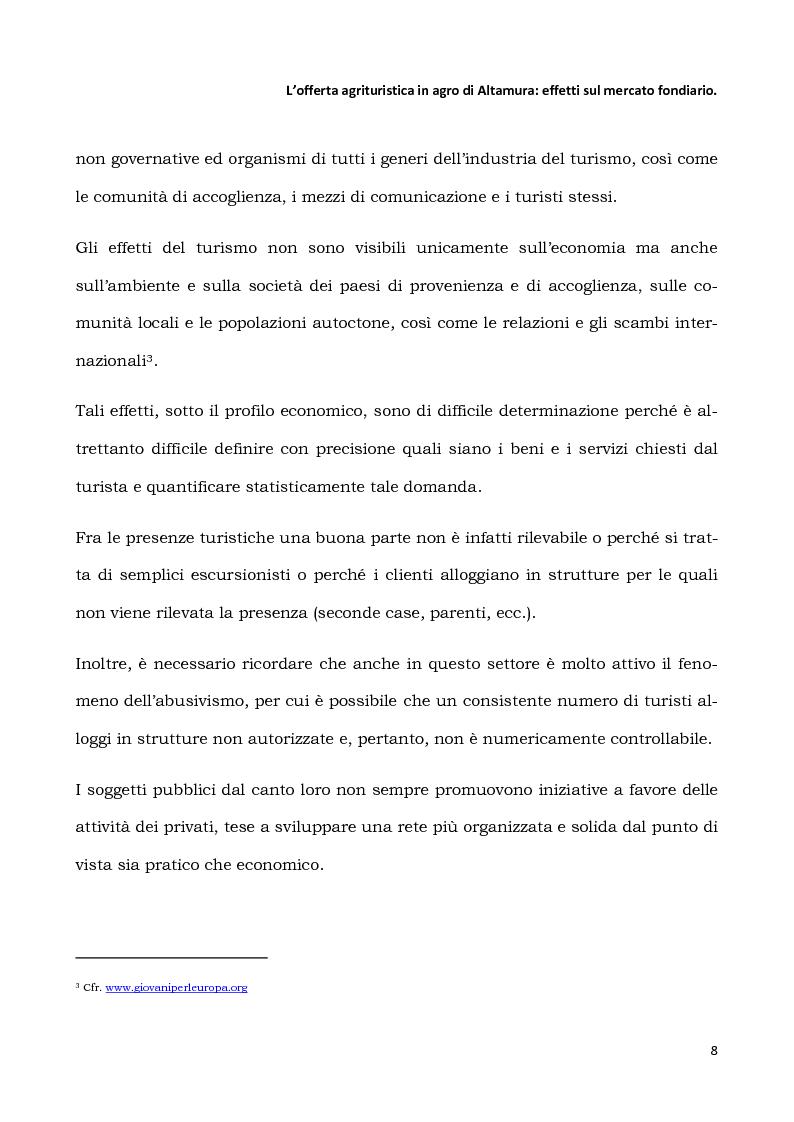 Anteprima della tesi: L'offerta agrituristica in agro di Altamura: effetti sul mercato fondiario, Pagina 6