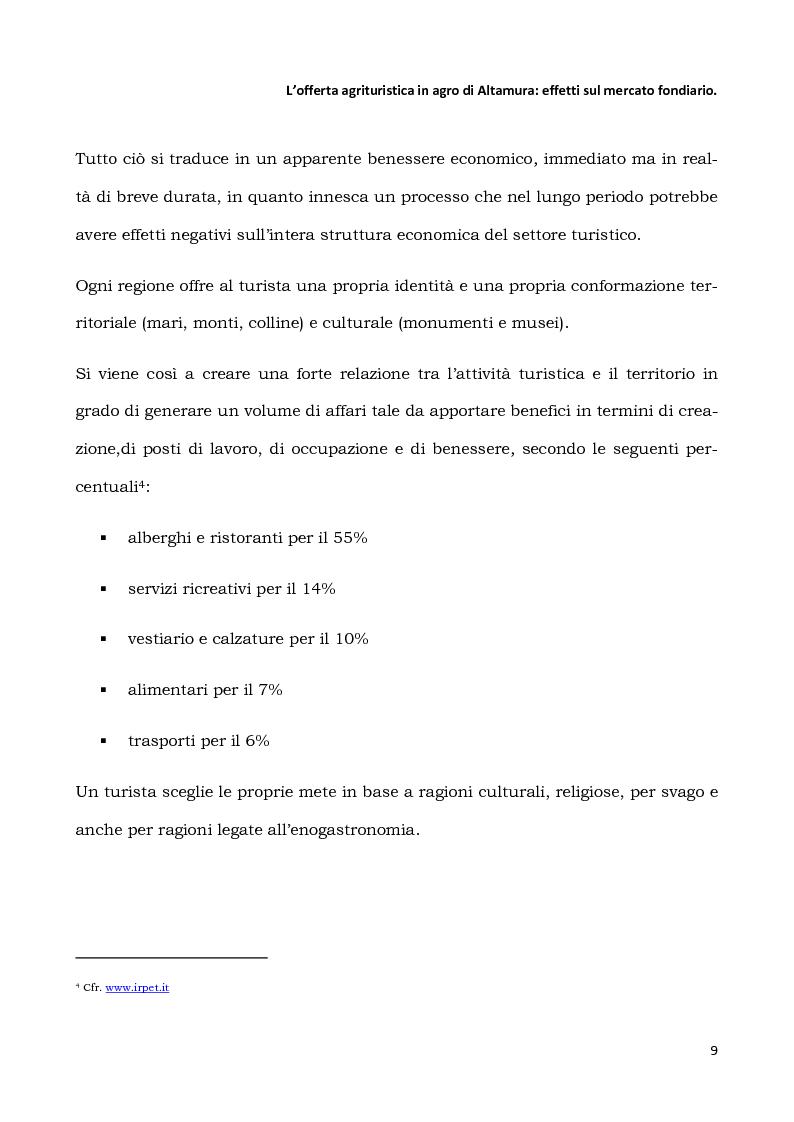 Anteprima della tesi: L'offerta agrituristica in agro di Altamura: effetti sul mercato fondiario, Pagina 7
