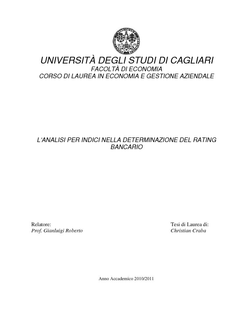 Anteprima della tesi: L'analisi per indici nella determinazione del rating bancario, Pagina 1