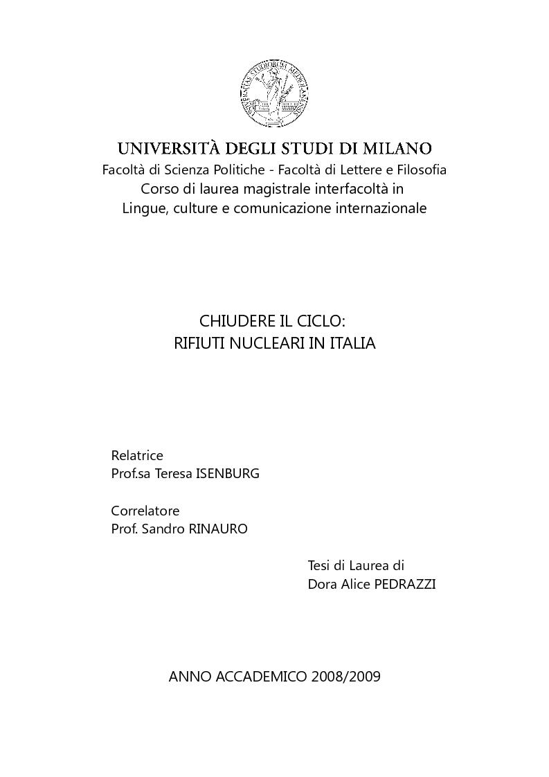 Anteprima della tesi: Chiudere il ciclo: rifiuti nucleari in Italia, Pagina 1