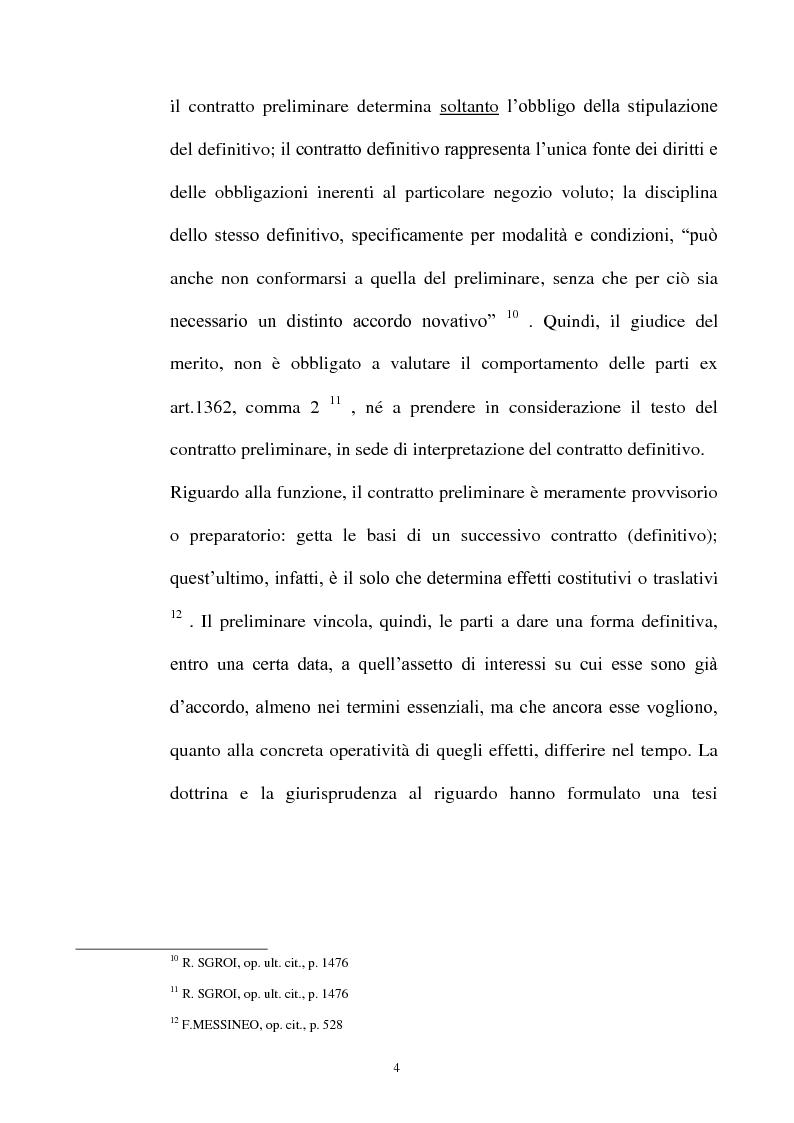 Anteprima della tesi: Promessa di vendita per persona da nominare e clausola di cessione del contratto e/o a favore del terzo, Pagina 5