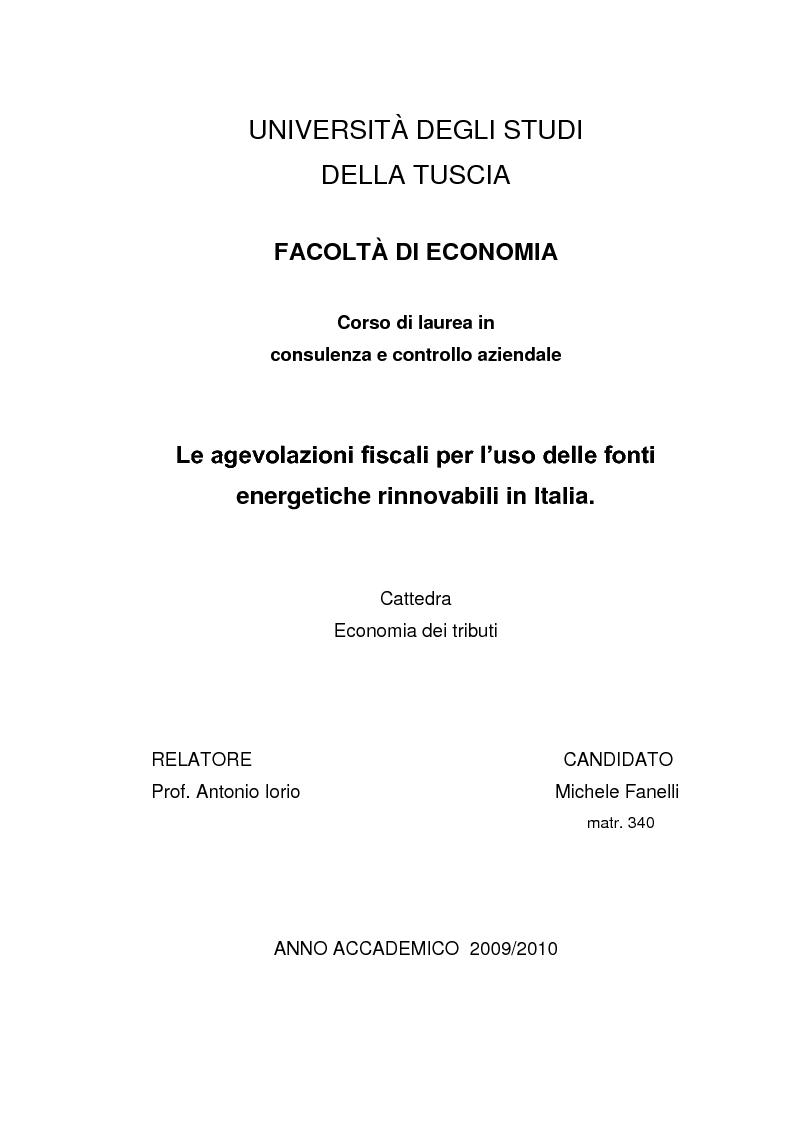 Anteprima della tesi: Le agevolazioni fiscali per l'utilizzo delle fonti energetiche rinnovabili in Italia., Pagina 1