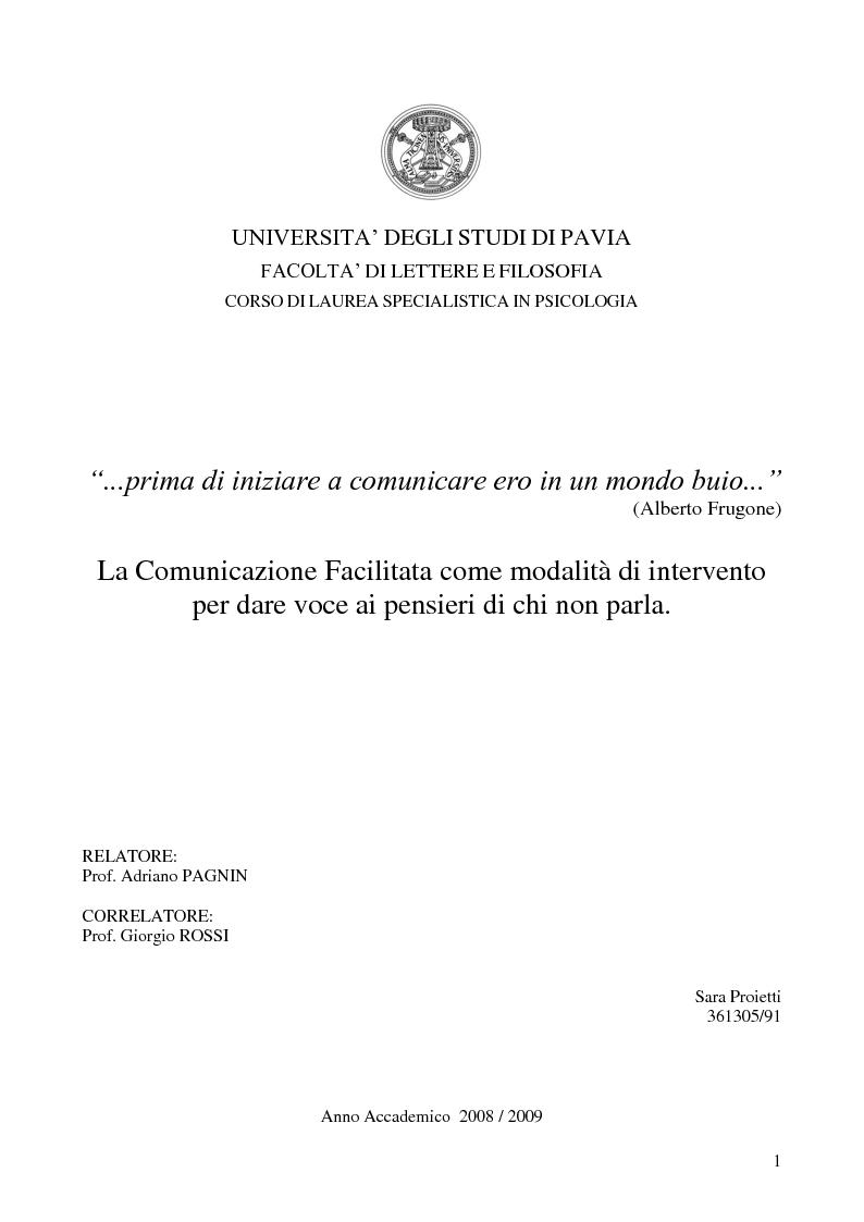 Anteprima della tesi: La Comunicazione Facilitata come modalità di intervento per dare voce ai pensieri di chi non parla., Pagina 1