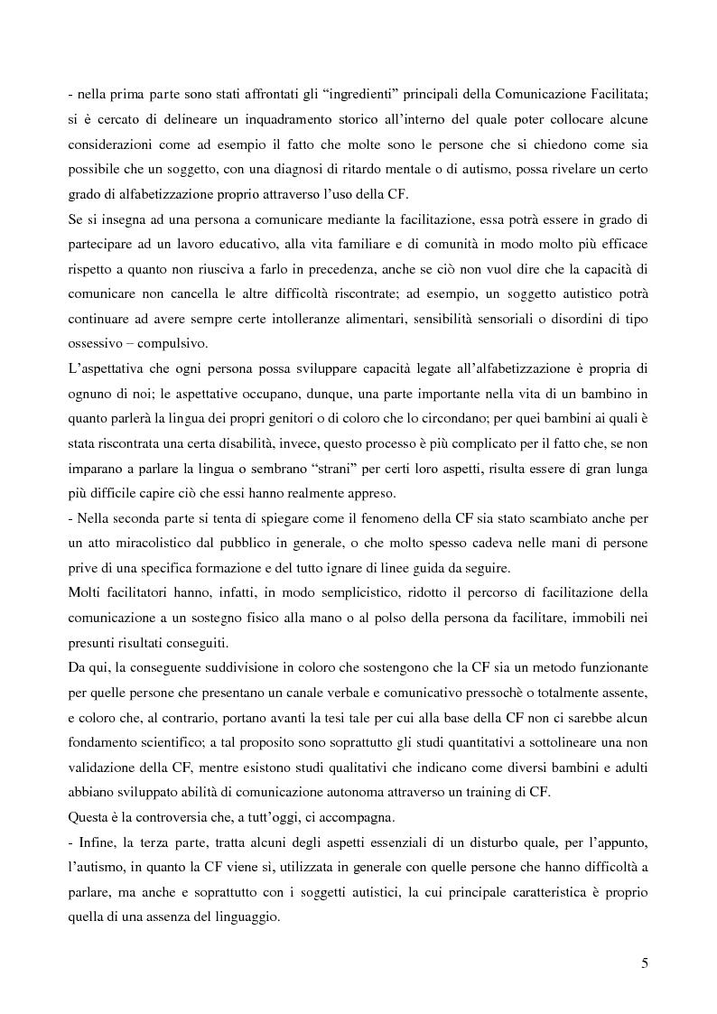 Anteprima della tesi: La Comunicazione Facilitata come modalità di intervento per dare voce ai pensieri di chi non parla., Pagina 3