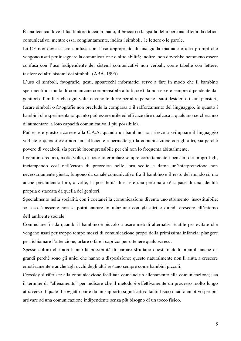 Anteprima della tesi: La Comunicazione Facilitata come modalità di intervento per dare voce ai pensieri di chi non parla., Pagina 6