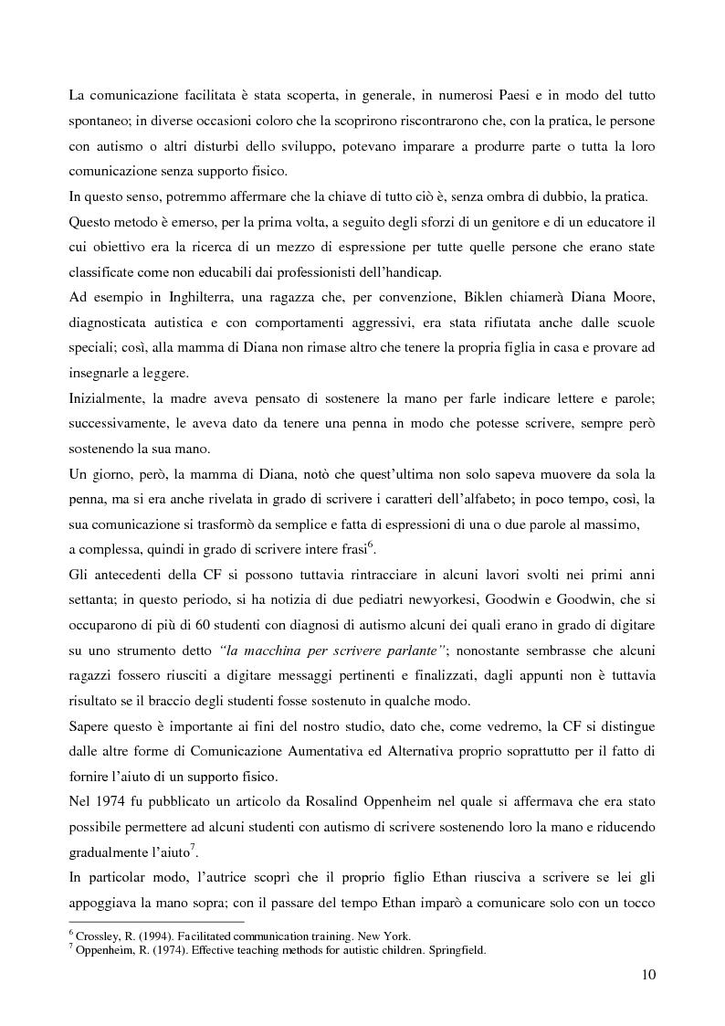 Anteprima della tesi: La Comunicazione Facilitata come modalità di intervento per dare voce ai pensieri di chi non parla., Pagina 8