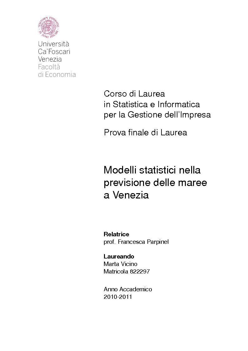 Anteprima della tesi: Modelli statistici nella previsione delle maree a Venezia, Pagina 1