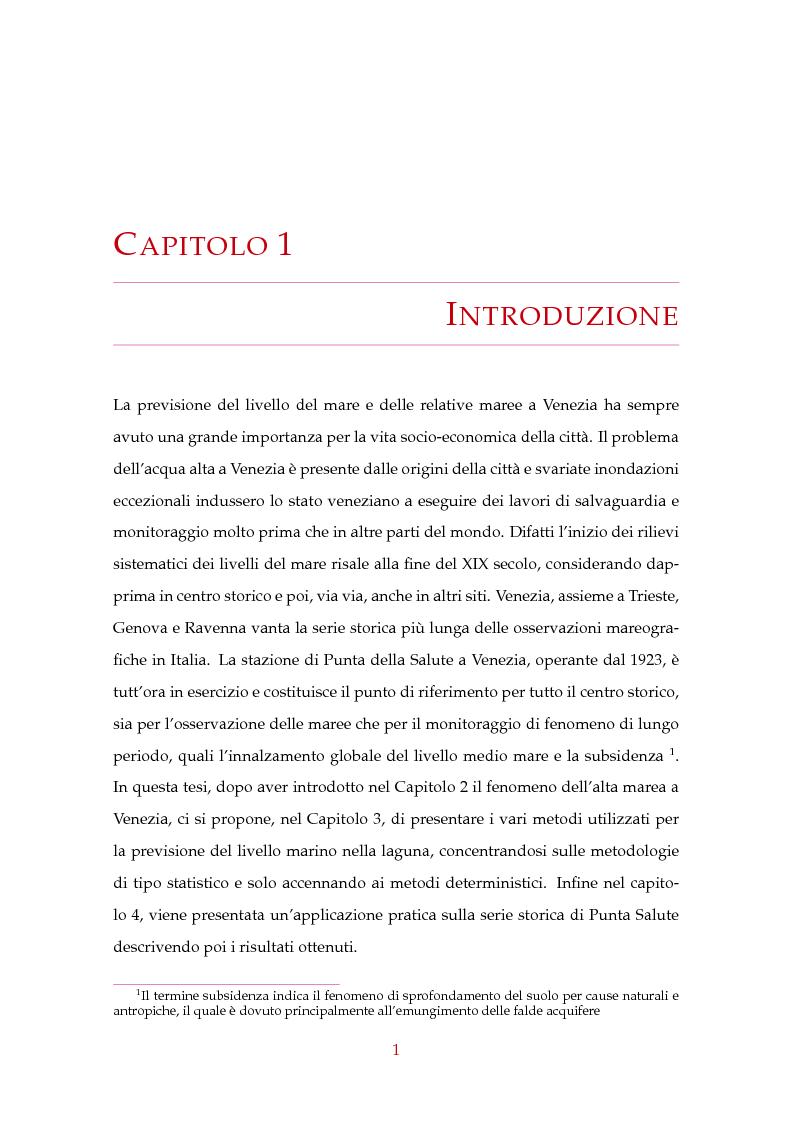 Anteprima della tesi: Modelli statistici nella previsione delle maree a Venezia, Pagina 2
