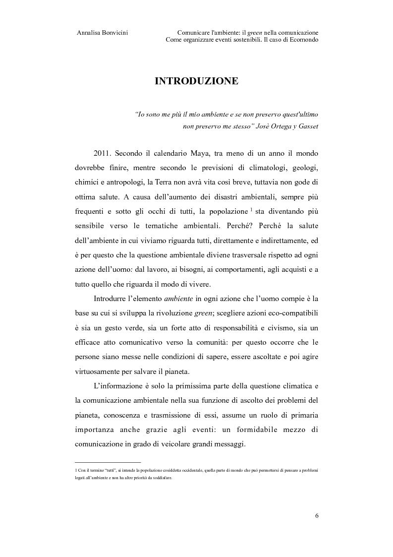 Anteprima della tesi: Comunicare l'ambiente: il green nella comunicazione. Come organizzare eventi sostenibili. Il caso di Ecomondo, Pagina 2