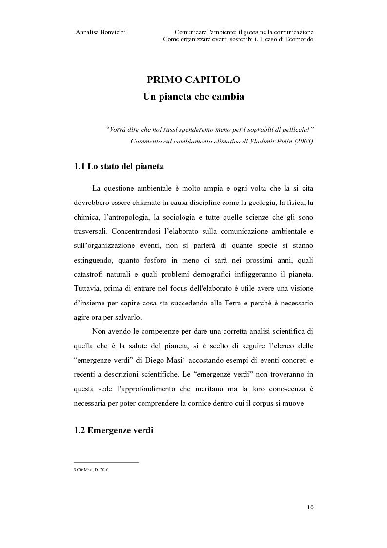 Anteprima della tesi: Comunicare l'ambiente: il green nella comunicazione. Come organizzare eventi sostenibili. Il caso di Ecomondo, Pagina 6