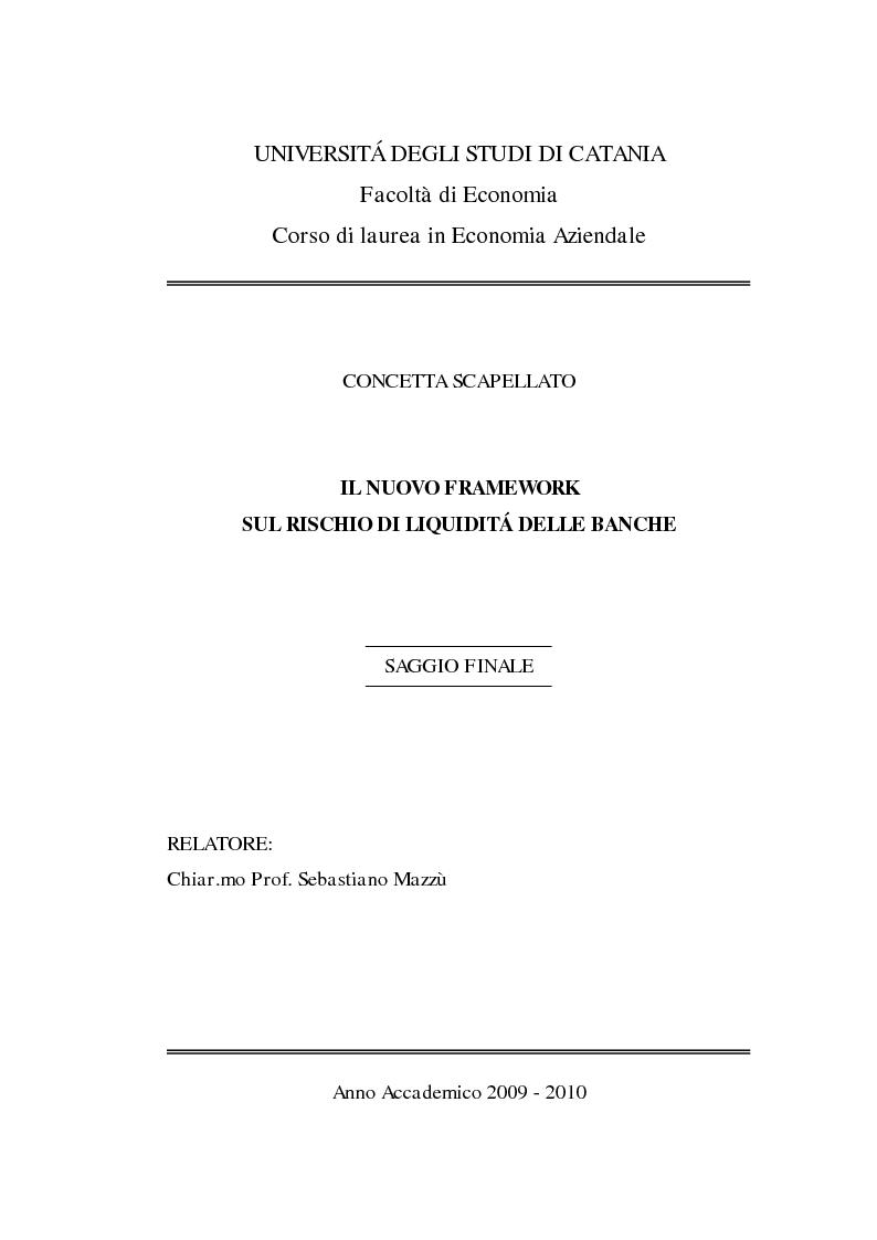 Anteprima della tesi: Il nuovo framework sul rischio di liquidità delle banche, Pagina 1