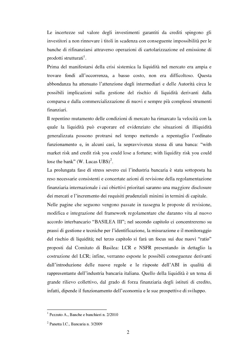 Anteprima della tesi: Il nuovo framework sul rischio di liquidità delle banche, Pagina 3