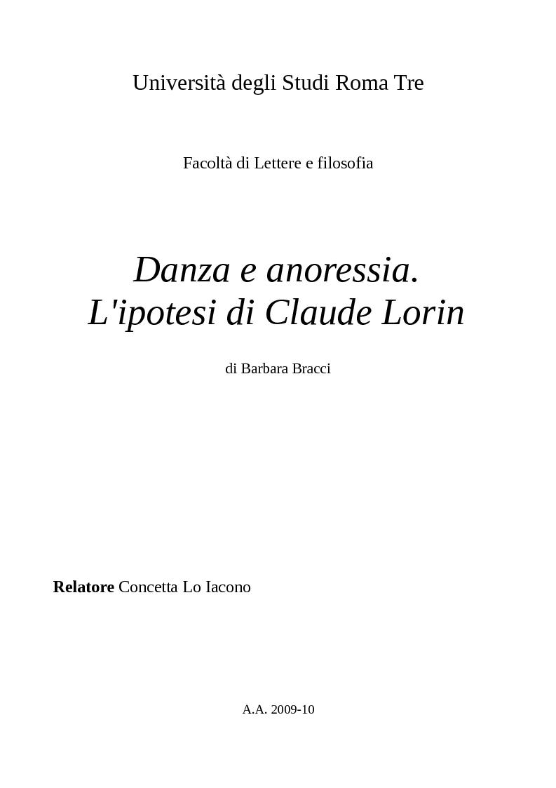 Anteprima della tesi: Danza e anoressia. L'ipotesi di Claude Lorin., Pagina 1