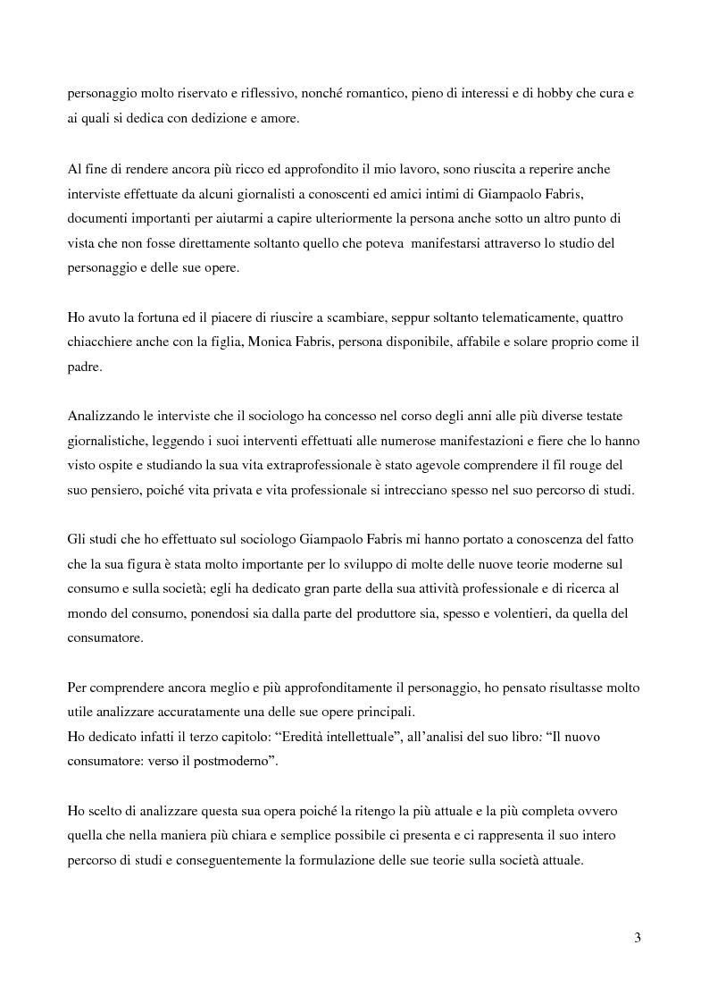 Anteprima della tesi: Contributo del sociologo Giampaolo Fabris alla conoscenza della società contemporanea, Pagina 3