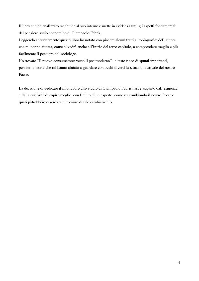Anteprima della tesi: Contributo del sociologo Giampaolo Fabris alla conoscenza della società contemporanea, Pagina 4